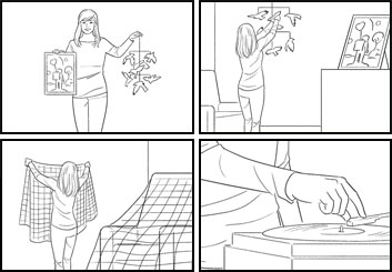 Anuj Shrestha's People - B&W Line storyboard art
