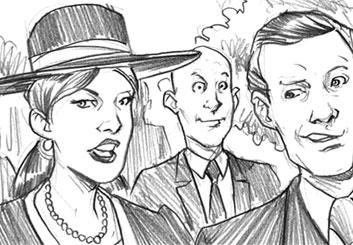 Michael Lee's People - B&W Line storyboard art
