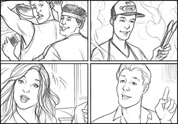 Michael Lee's People - B&W Line storyboard art