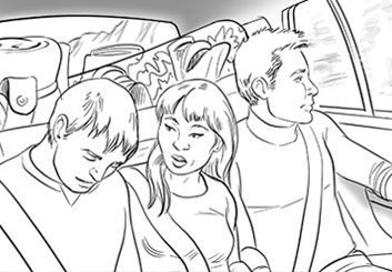 Paul Binkley's People - B&W Line storyboard art