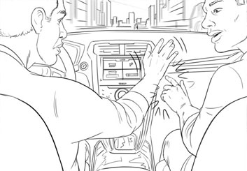 Paul Binkley's People - B&W Line storyboard art