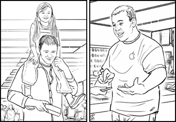Philippe Collot*'s People - B&W Line storyboard art
