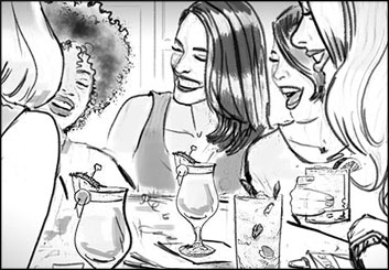 Renee Reeser's People - B&W Line storyboard art