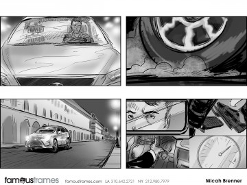 Micah Brenner*'s Shooting Vehicles storyboard art