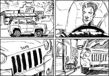 Micah Brenner*'s Shooting Vehicles storyboard art