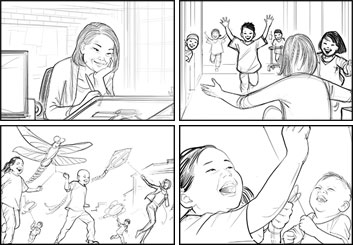 Kai Simons's People - B&W Line storyboard art