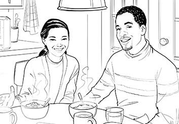 Kai Simons's People - B&W Line storyboard art