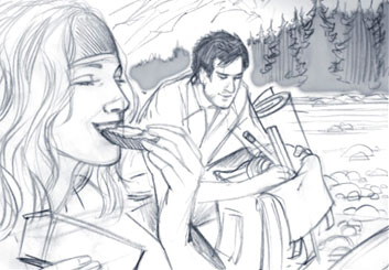 Kai Simons's People - B&W Tone storyboard art