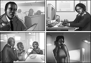 Wes Louie's People - B&W Tone storyboard art