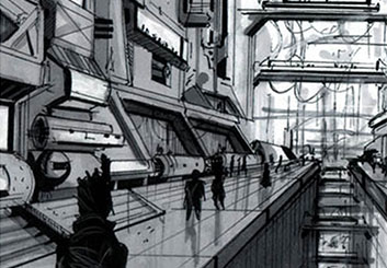 Eddy Mayer's Architectural storyboard art