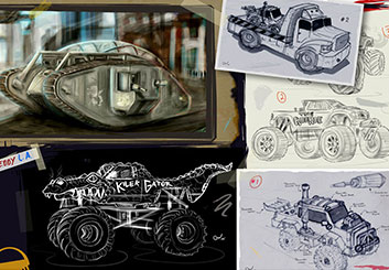 Eddy Mayer's Concept Vehicles storyboard art
