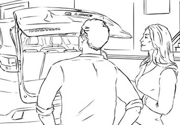 Eddy Mayer's People - B&W Line storyboard art