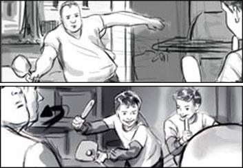 Michael DeWeese's People - B&W Tone storyboard art