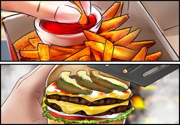 James Randolph*'s Food storyboard art