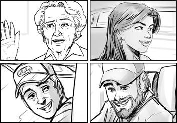 Drew Pierce's People - B&W Line storyboard art