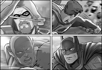 Drew Pierce's Comic Book storyboard art