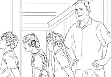 Nick Randall's People - B&W Line storyboard art