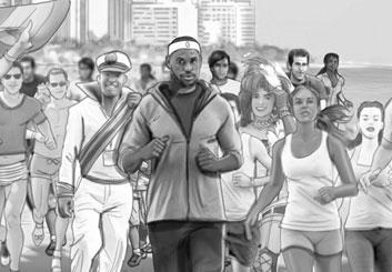 Nick Randall's People - B&W Tone storyboard art