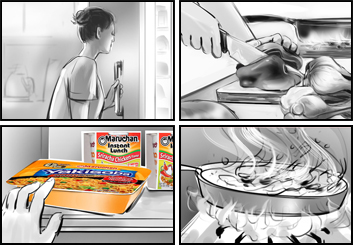 Lee Milby's Food storyboard art