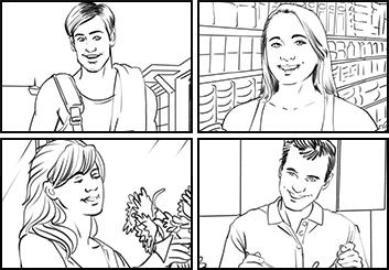 Josh Adams's People - B&W Line storyboard art