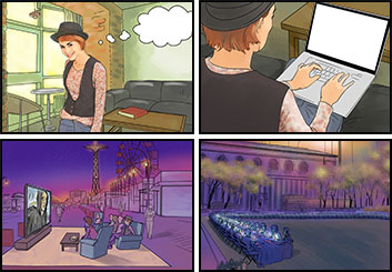 Josh Adams's People - Color  storyboard art
