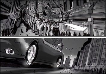 Collin Grant*'s Shooting Vehicles storyboard art