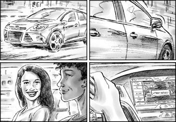 Brad Vancata's Shooting Vehicles storyboard art