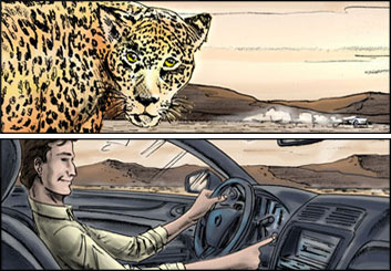 Brad Vancata's Vehicles storyboard art