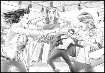Bernard's People - B&W Tone storyboard art