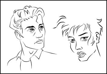 Alex's People - B&W Line storyboard art