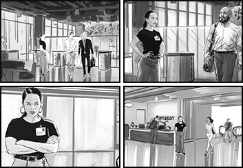 David Case's People - B&W Tone storyboard art