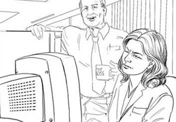 David Larks's People - B&W Line storyboard art
