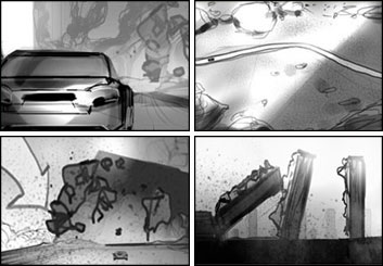 Charles Ratteray*'s Shooting Vehicles storyboard art