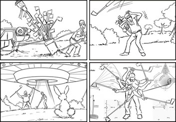 Chris Stiles's People - B&W Line storyboard art