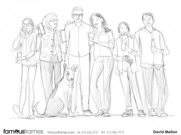 David Mellon's People - B&W Line storyboard art