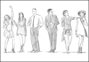 David Mellon's People - B&W Line storyboard art