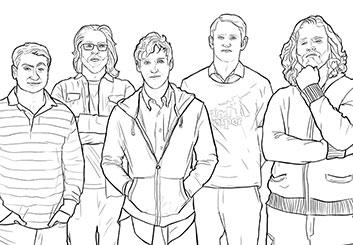 Krystal Newmark's People - B&W Line storyboard art