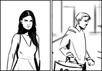 Lanny Markasky's People - B&W Line storyboard art