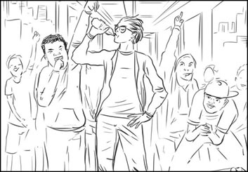 Evan Yarbrough*'s People - B&W Line storyboard art