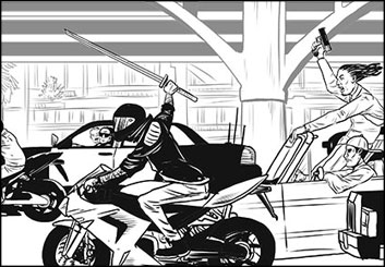 Evan Yarbrough's Action storyboard art