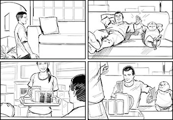 Jeff Kronen's People - B&W Line storyboard art