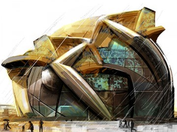 Jeff Kronen's Architectural storyboard art