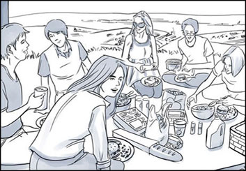Kensuke Okabayashi's People - B&W Tone storyboard art