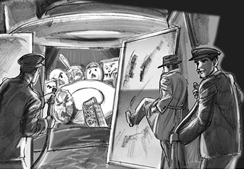 Al Frank's People - B&W Tone storyboard art