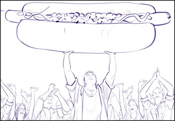 Angus Cameron's People - B&W Line storyboard art