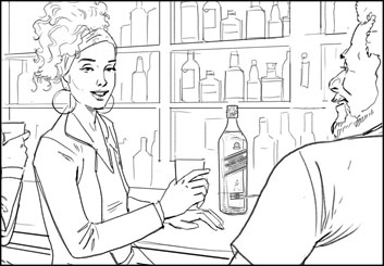 Lance Erlick's People - B&W Line storyboard art