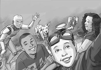 Lance Erlick's Kids storyboard art