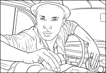 Kaleo Welborn's People - B&W Line storyboard art