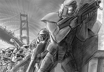 Kaleo Welborn's Sci-Fi storyboard art