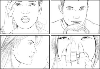 Kathy Berry's People - B&W Line storyboard art